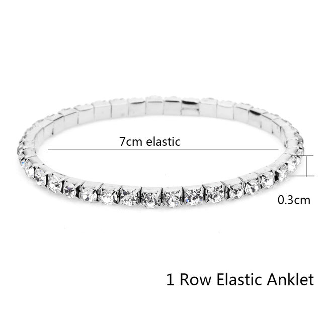 Our Sparkly Dressy Stretch Crystal Anklet  BUY 2 OR MORE ROWS-YOU'LL GET 1 ROW FREE
