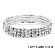 Load image into Gallery viewer, Our Sparkly Dressy Stretch Crystal Anklet  BUY 2 OR MORE ROWS-YOU'LL GET 1 ROW FREE