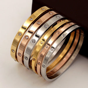 Beautiful Designer Stainless Steel and Cubic Zirconia Bangle Bracelet