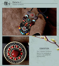 Load image into Gallery viewer, Handcrafted Ethnic Long Semi Precious Stone and Bronze Medallion Necklace
