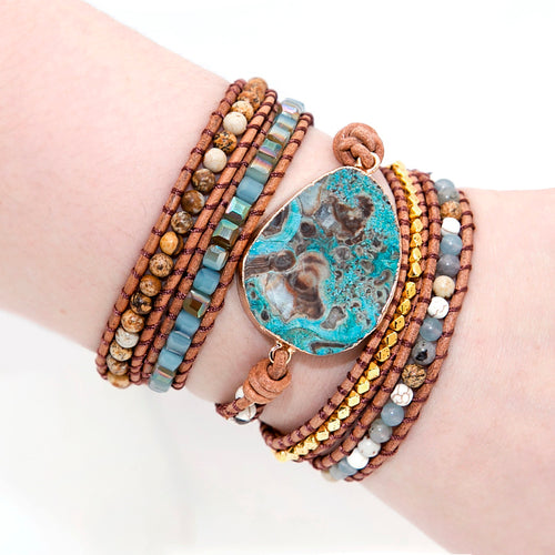 Natural Stone With Turquoise Center Leather Wrap Handcrafted Bracelet