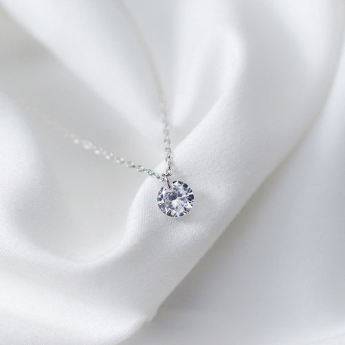 925 Sterling Silver AAA Cubic Zirconia Pendant Necklace
