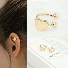 Load image into Gallery viewer, Our Constellation Star, Moon or Heart Earclips are Today's Fashion Style - ON SALE - STAR EARCLIP FREE WITH ZODIAC SIGN NECKLACE
