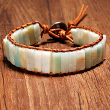 Load image into Gallery viewer, Handcrafted  Bohemian Semi-Precious Amazonite and Leather Bracelet