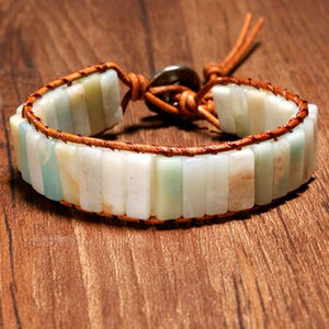 Handcrafted  Bohemian Semi-Precious Amazonite and Leather Bracelet