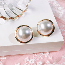 Load image into Gallery viewer, Large Round Button Earring With Faux Pearl and Gold Surround