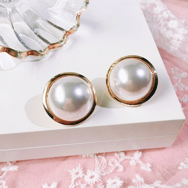 Large Round Button Earring With Faux Pearl and Gold Surround
