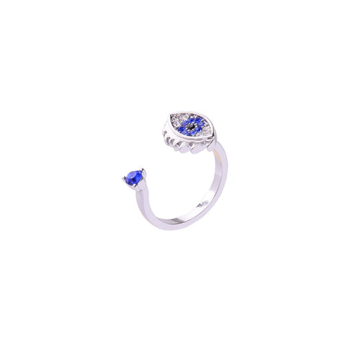 Unique and Beautiful Blue Crystal Open Ring