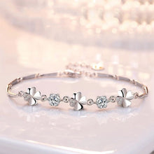 Load image into Gallery viewer, Solid Silver Four Clover Bracelet - LoveOurJewelry.com
