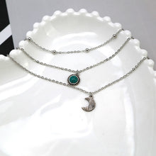 Load image into Gallery viewer, 3 Layer Moon, Turquoise, Choker Necklace