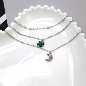 3 Layer Moon, Turquoise, Choker Necklace