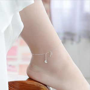 Sterling Silver Constellation Star-Moon Anklet is the Perfect Anklet for Every Style!