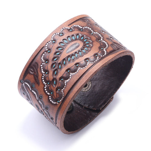 Handcrafted Vintage Engraved Leather bracelet