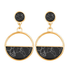 Load image into Gallery viewer, TRENDING NOW - Black or White Marble Natural Stone Filled Hoop Earrings