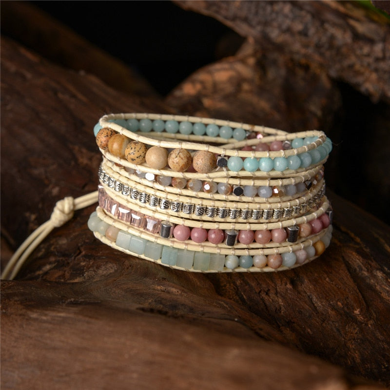 Handcrafted Natural Stone and Leather Bracelet