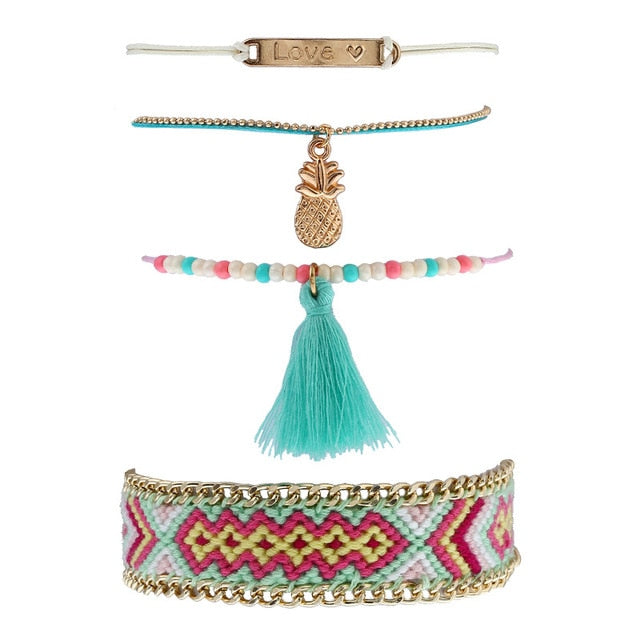 Handcrafted Woven, Beaded Ethnic Bracelet