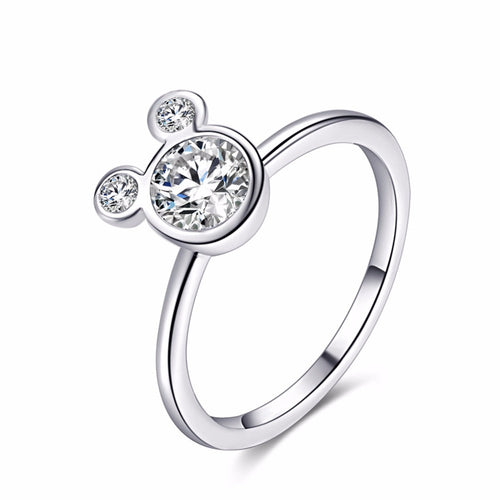 Mickey Mouse Silver and Zirconia Ring For Girls
