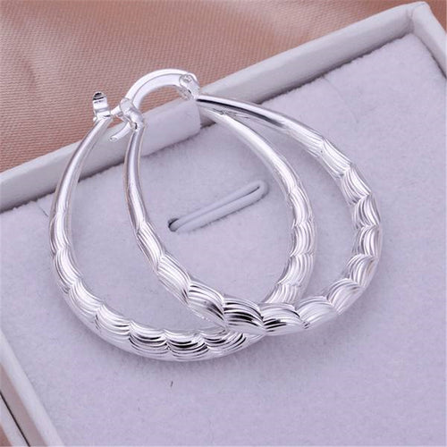 925 Silver Designer Patterned Hoop Earrings