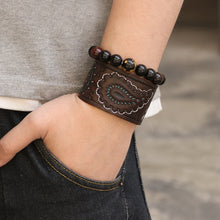 Load image into Gallery viewer, Handcrafted Vintage Engraved Leather bracelet
