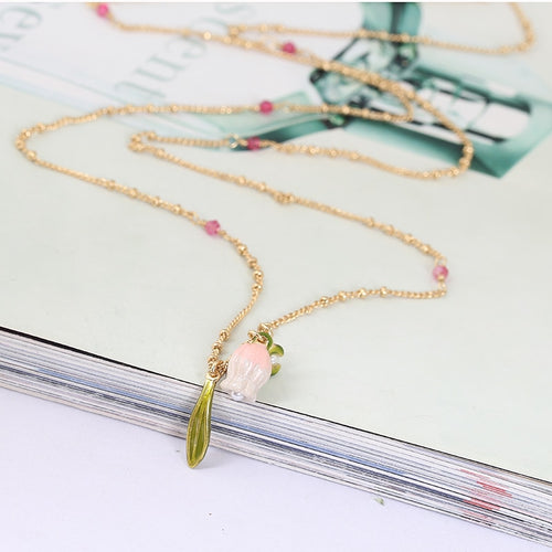 Romantic Handcrafted Enamel Bell Orchid Flower Necklace