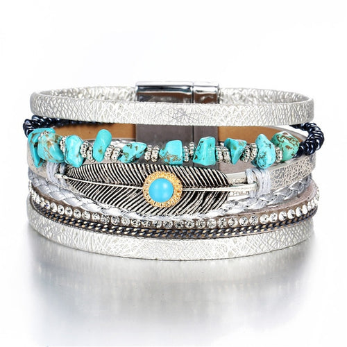 Leather and Bangle Charm Multilayer Bracelet