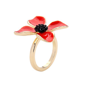Handcrafted Unique Enamel and Copper Romantic Flower Ring