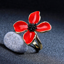 Load image into Gallery viewer, Handcrafted Unique Enamel and Copper Romantic Flower Ring