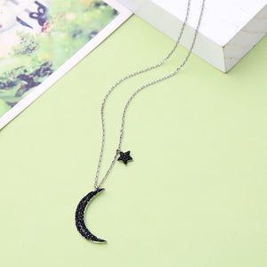 Moon and Stars Necklace with Zircon Insets