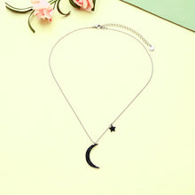 Load image into Gallery viewer, Moon and Stars Necklace with Zircon Insets