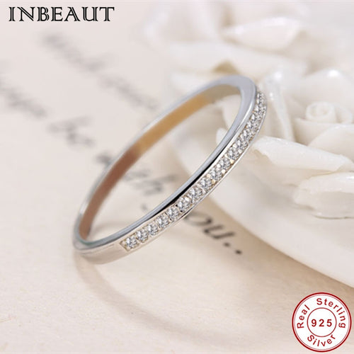 925 Sterling Silver Clear Zirconia Eternity Forever Ring