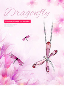 Exquisite Silver and Swarovski Crystal Dragonfly Necklace