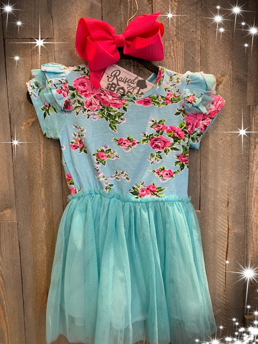 Teal floral party dress