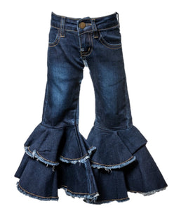 Tiered Ruffle Jeans - Dark