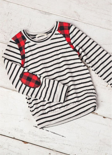 Stripe / Plaid Elbow Patch Top