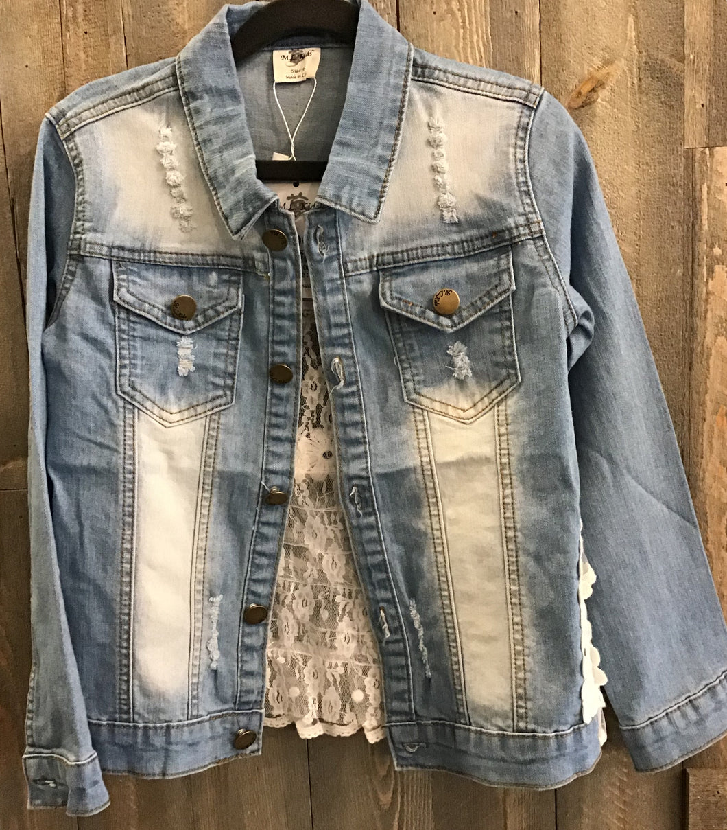 Denim lace distressed jacket
