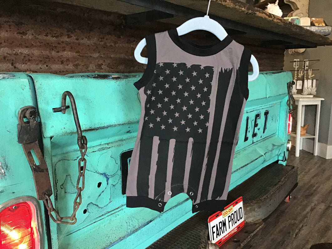 American Flag Black/Grey Romper