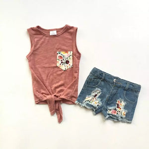 Spring Floral Denim Short Set