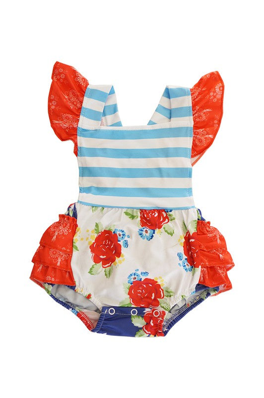 Freedom Floral Baby Romper