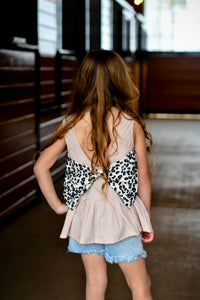 Denim/leopard short