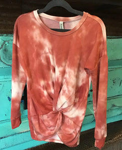 Rust Tie-dye Center Knot L/S Shirt