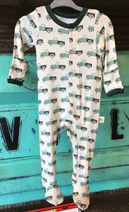 Teal Pickups Footed Pajamas