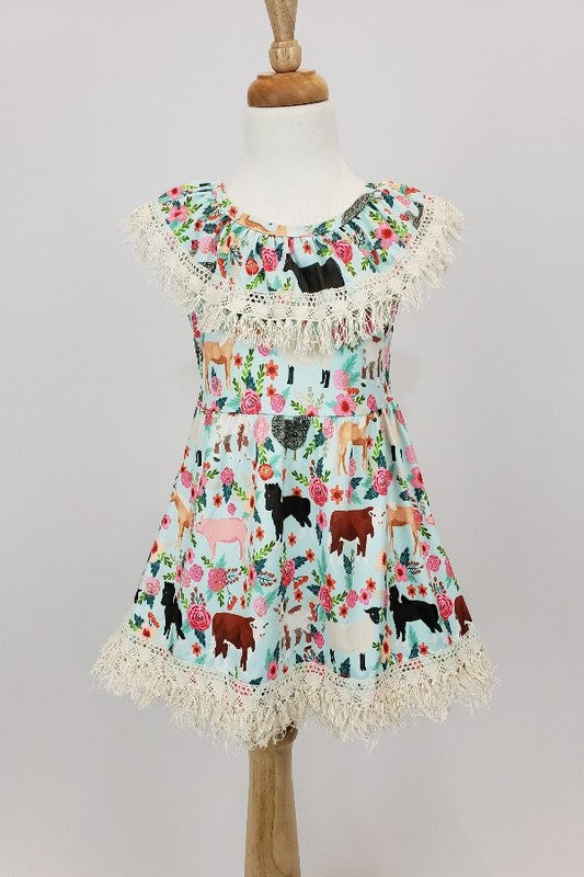 CC Farm Floral fringe dress