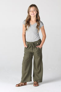 Olive pants w/ button detail