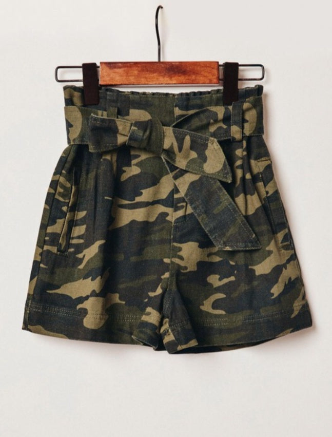 Camo Belted Shorts