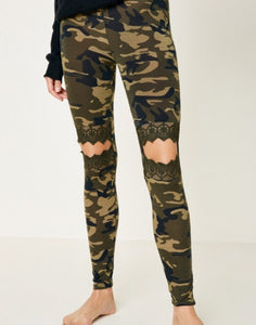 Lace Cutout Camo Leggings
