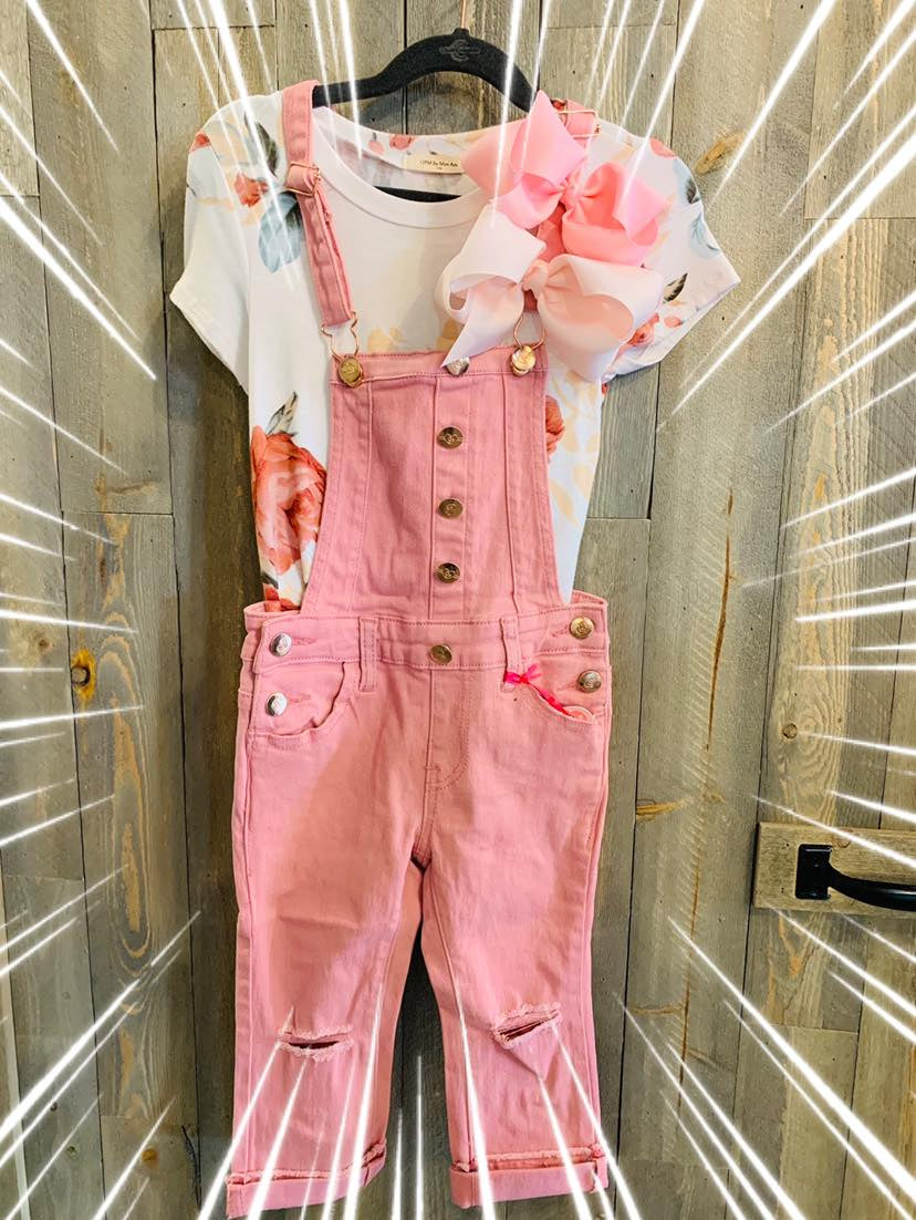Toddler pink overalls