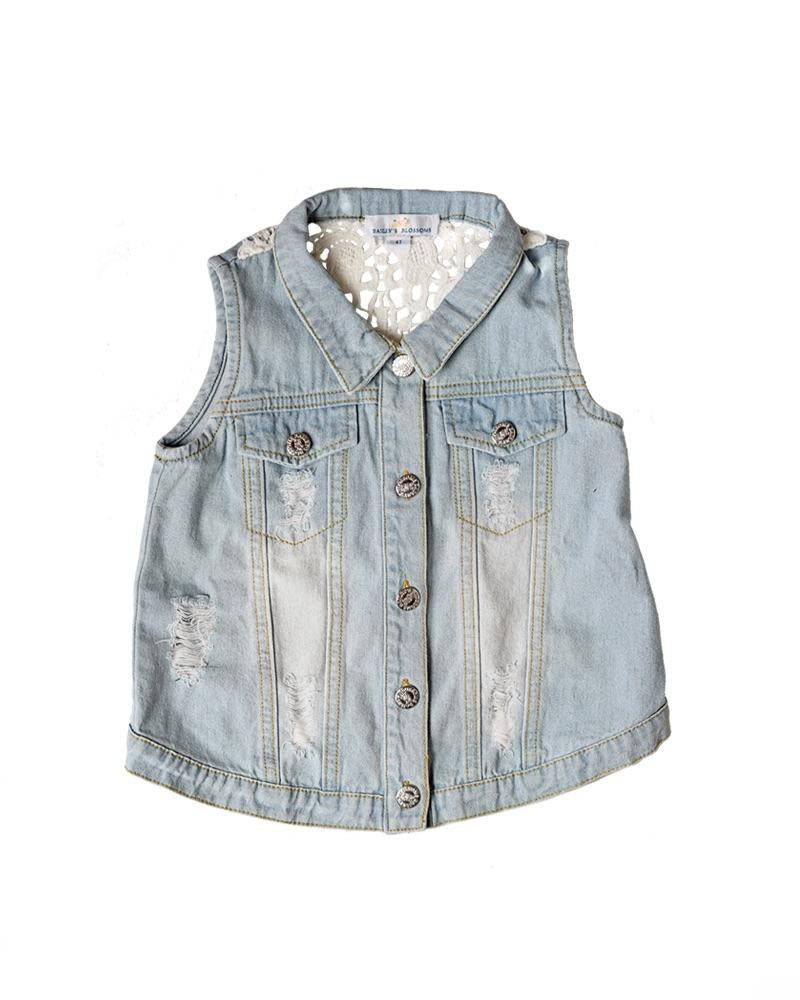 BB denim lace vest