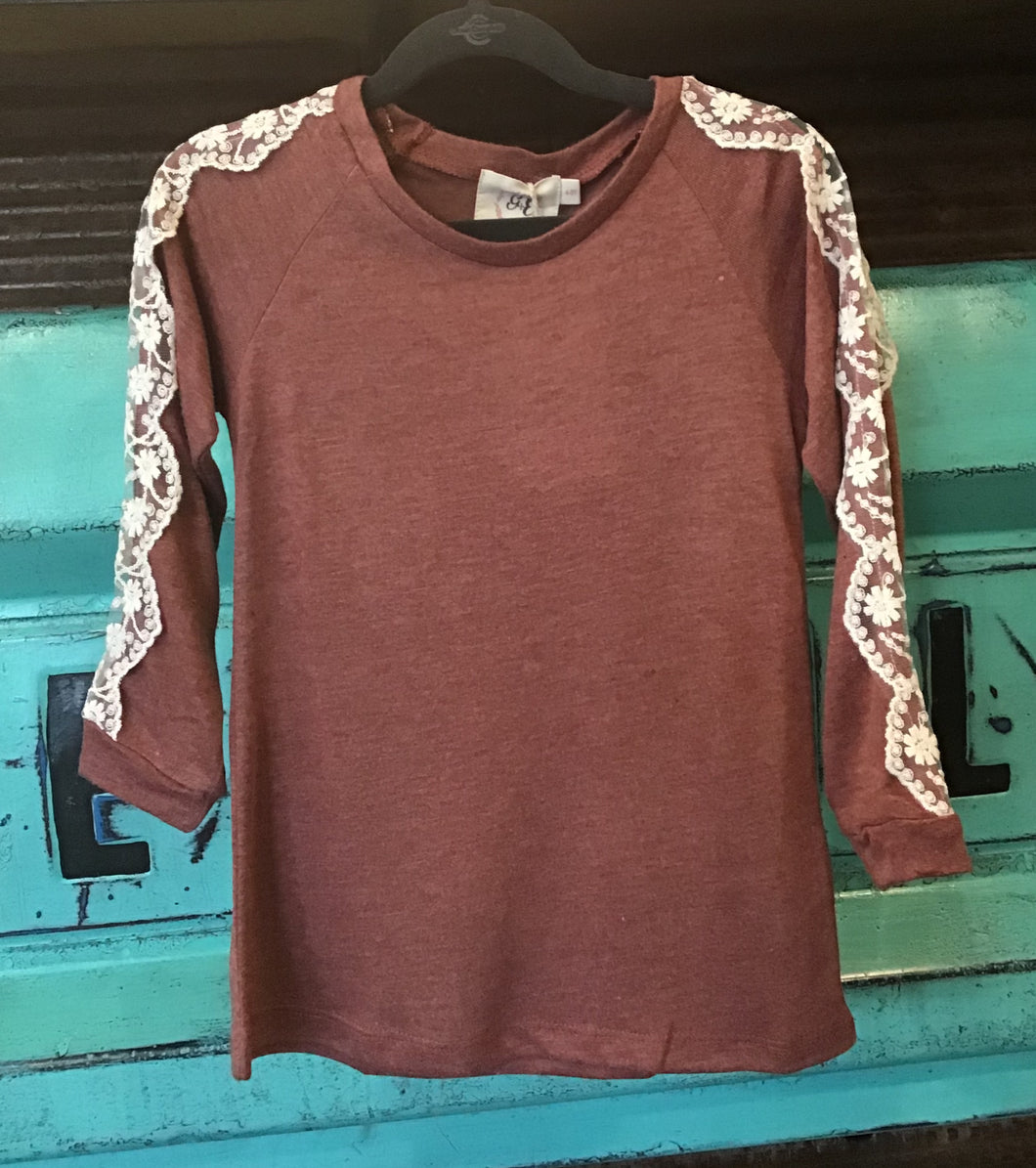 Rust with Lace Accent Longsleeve Tee