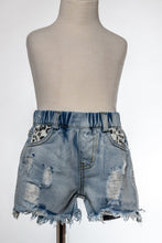 Load image into Gallery viewer, Denim/leopard short
