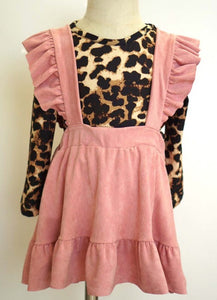 Pink Suspender Skirt with Leopard Top